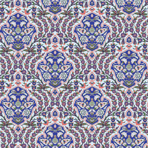 LUCKY Ottoman Small - Blues & Coral Wallpaper - Nomad Collection