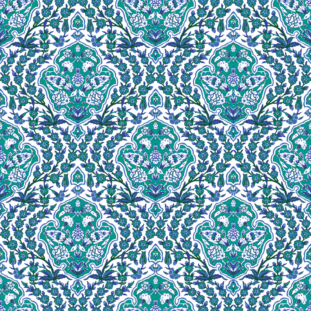Ottoman Small - Turquoise Wallpaper - Nomad Collection