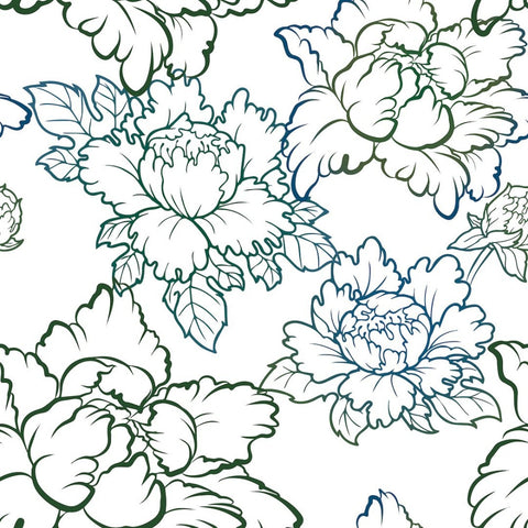 Peony - Blue Wallpaper - Bohemian Bungalow Collection