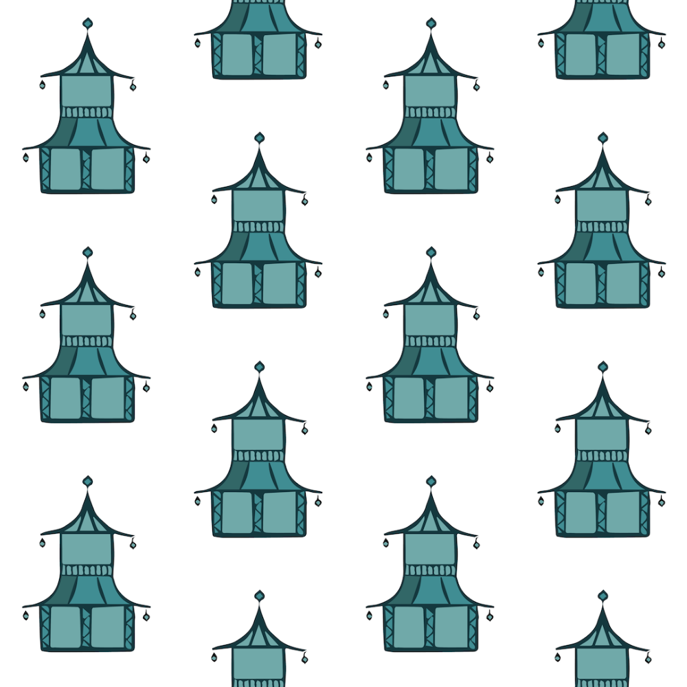 Pagoda - Sky Blue Wallpaper - Bohemian Bungalow Collection