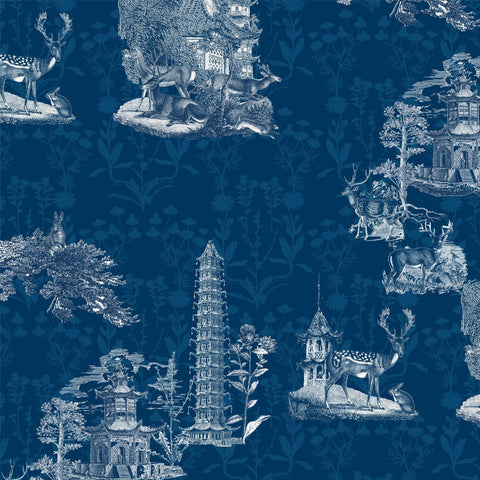 Pagoda Toile - Midnight Wallpaper - MB SIGNATURE