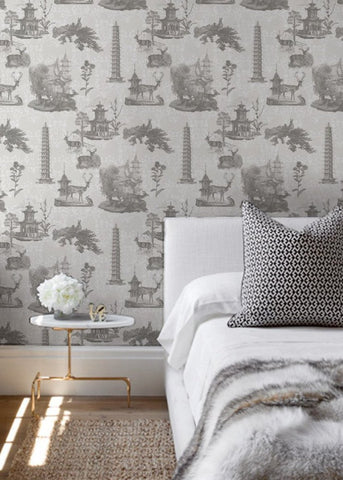 LUCKY Pagoda Toile - Moon/Charcoal Wallpaper - MB SIGNATURE