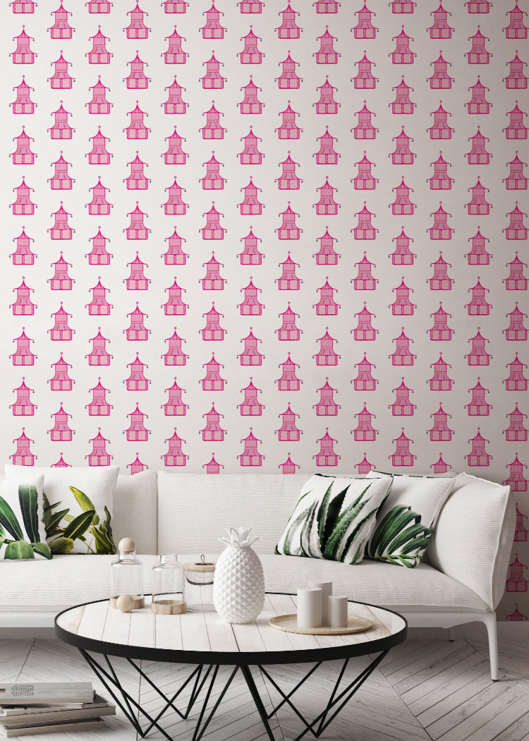 Pagoda - Hot Pink Wallpaper - Bohemian Bungalow Collection
