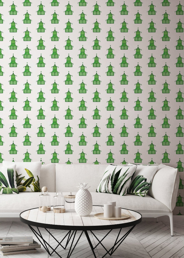 Pagoda - Key Lime Green Wallpaper - Bohemian Bungalow Collection