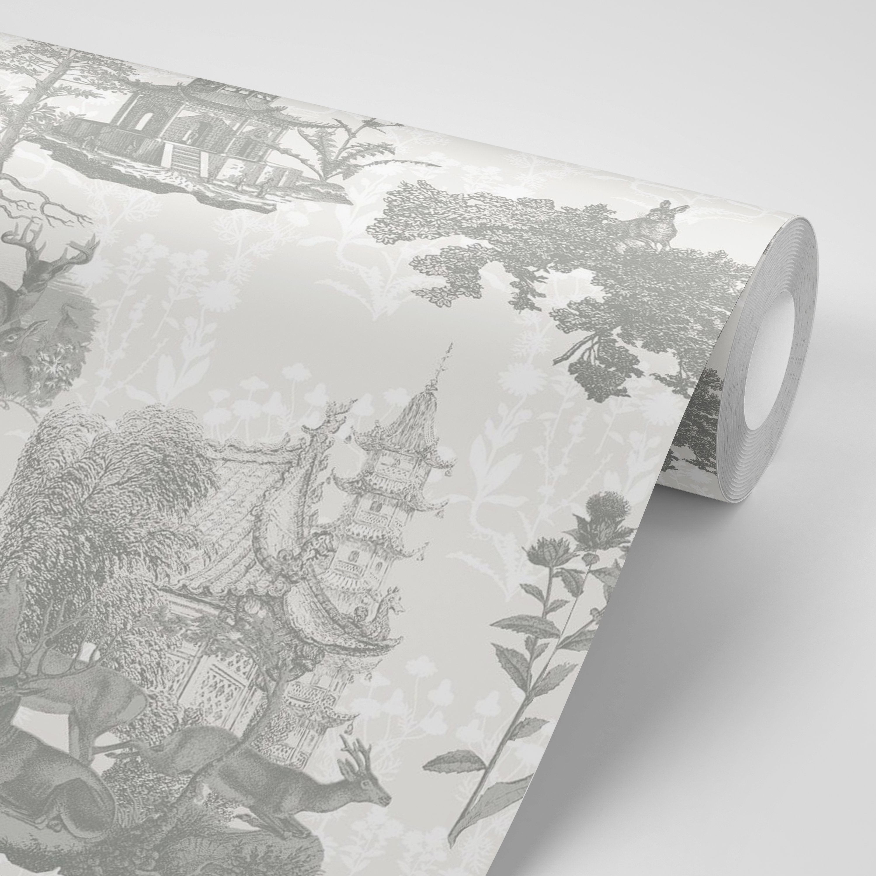 Pagoda Toile - Moon/Charcoal Wallpaper - MB SIGNATURE