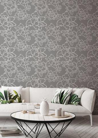 Peony - Grey Wallpaper - Bohemian Bungalow Collection