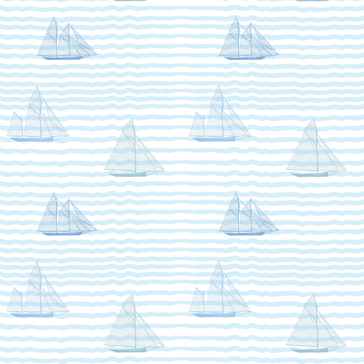 Sailboats Gift Wrap - Blue