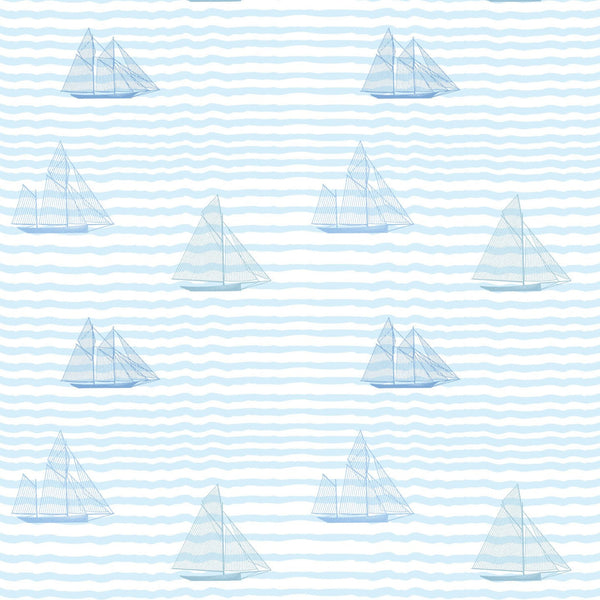 """SAILBOATS"" in Blues REMOVABLE WALLCOVERING"
