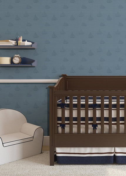 """SAILBOATS"" in Navy REMOVABLE WALLCOVERING"