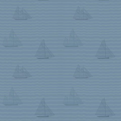Sailboats - Navy Wallpaper - MB BABY