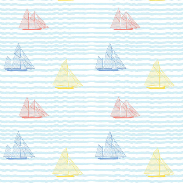 """SAILBOATS"" in Popsicle REMOVABLE WALLCOVERING"