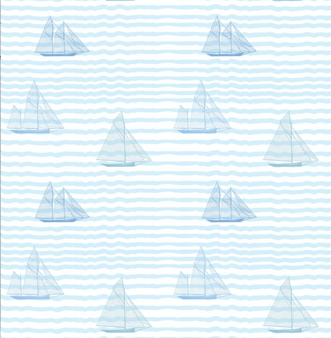 Sailboats - Blue Wallpaper - MB BABY Sample - PREMIUM PAPER