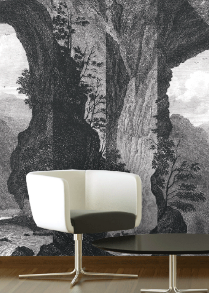 This vintage etching wallpaper - Mitchell Black Mountain Mural is easy to hang and easy to remove.
