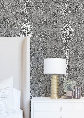 Shagreen - Jet Black Reverse Wallpaper - Mrs Paranjape Papers
