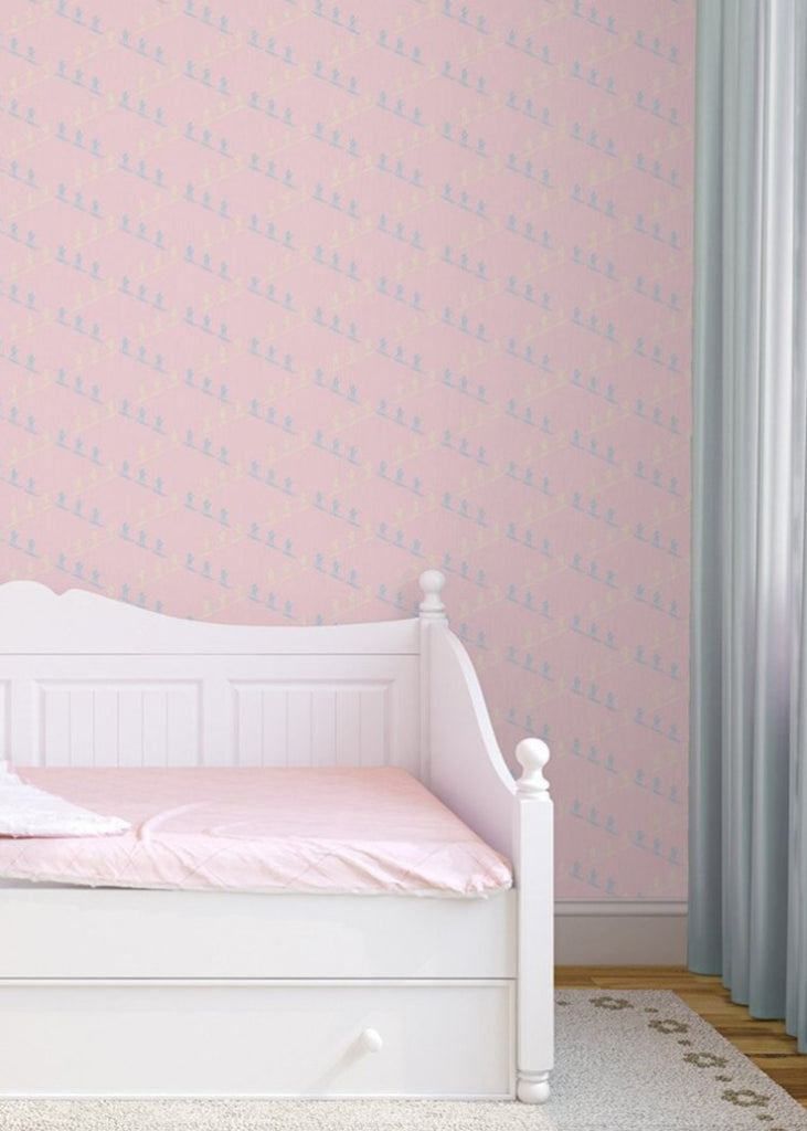 """SKI SLOPE"" in Baby Pink REMOVABLE WALLCOVERING"