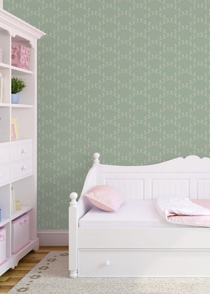 """SKI SLOPE"" in Celadon REMOVABLE WALLCOVERING"