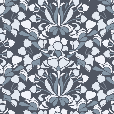Snapdragon - Blues & Greys Wallpaper - Nomad Collection