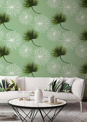 Cabbage Palm - Green Wallpaper - Bohemian Bungalow Collection