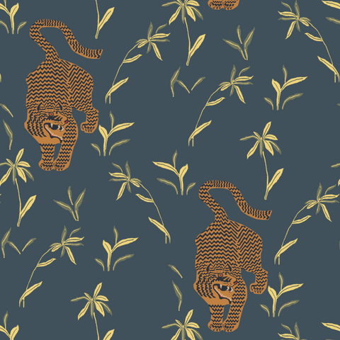 LUCKY Stalking Tiger Wallpaper - Black Moss Pre-Pasted Wallpaper  - Nomad Collection