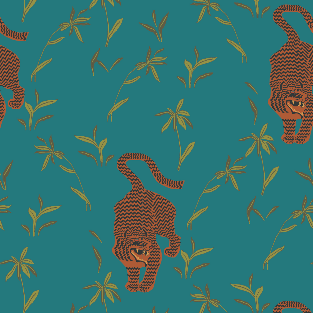 LUCKY Stalking Tiger - Jewel Wallpaper - Nomad Collection