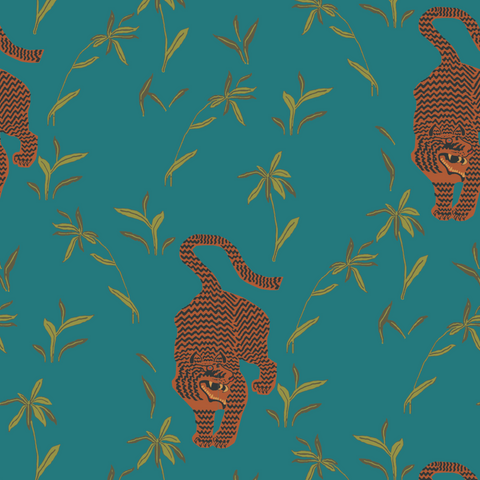 LUCKY Stalking Tiger - Jewel Pre-Pasted Wallpaper - Nomad Collection