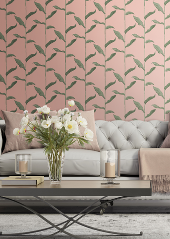 Stalks - Bleached Coral Wallpaper - Nomad Collection