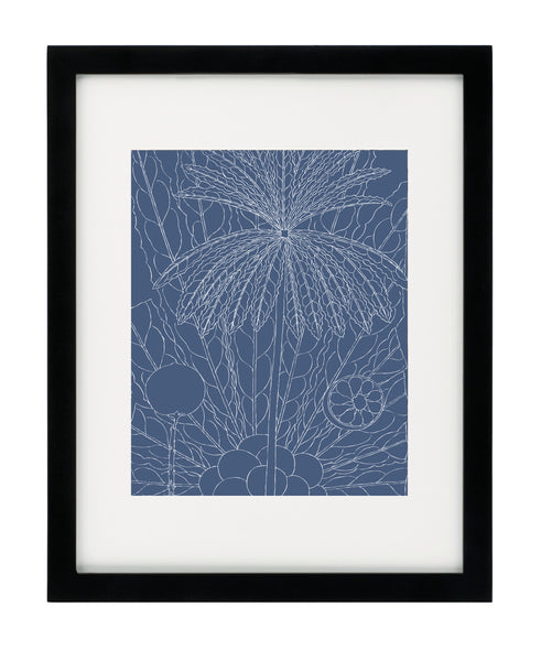 Summer botanical navy framed art