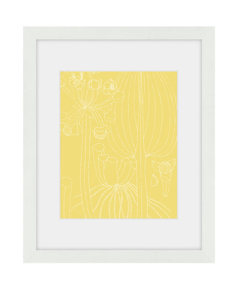 Summer botanical yellow framed art