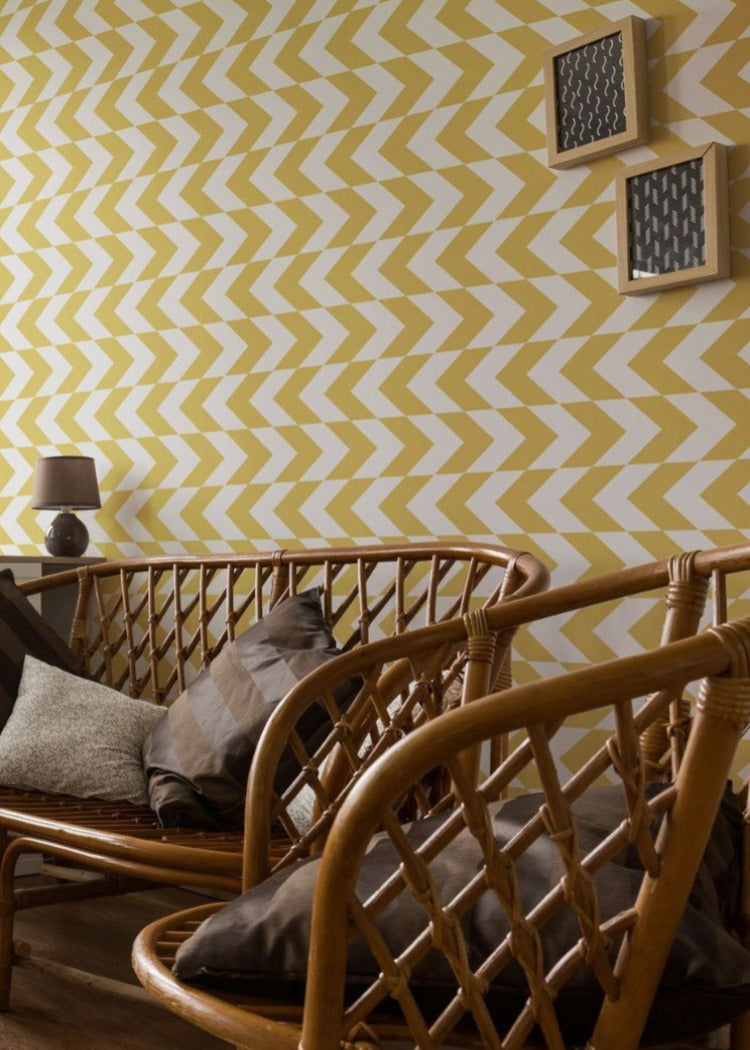 This Way - Dusty Yellow Wallpaper - Art in Chaos