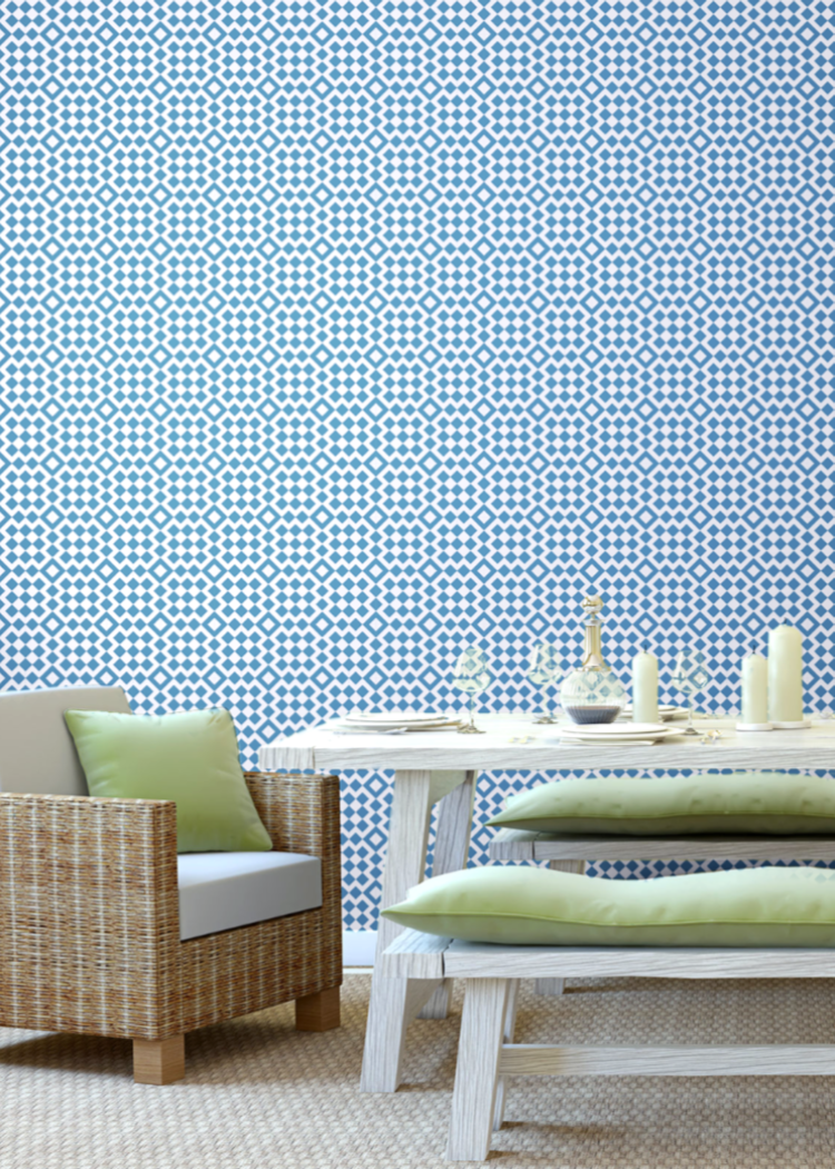 Turkish Bath - Coastal Blue Wallpaper - Art in Chaos