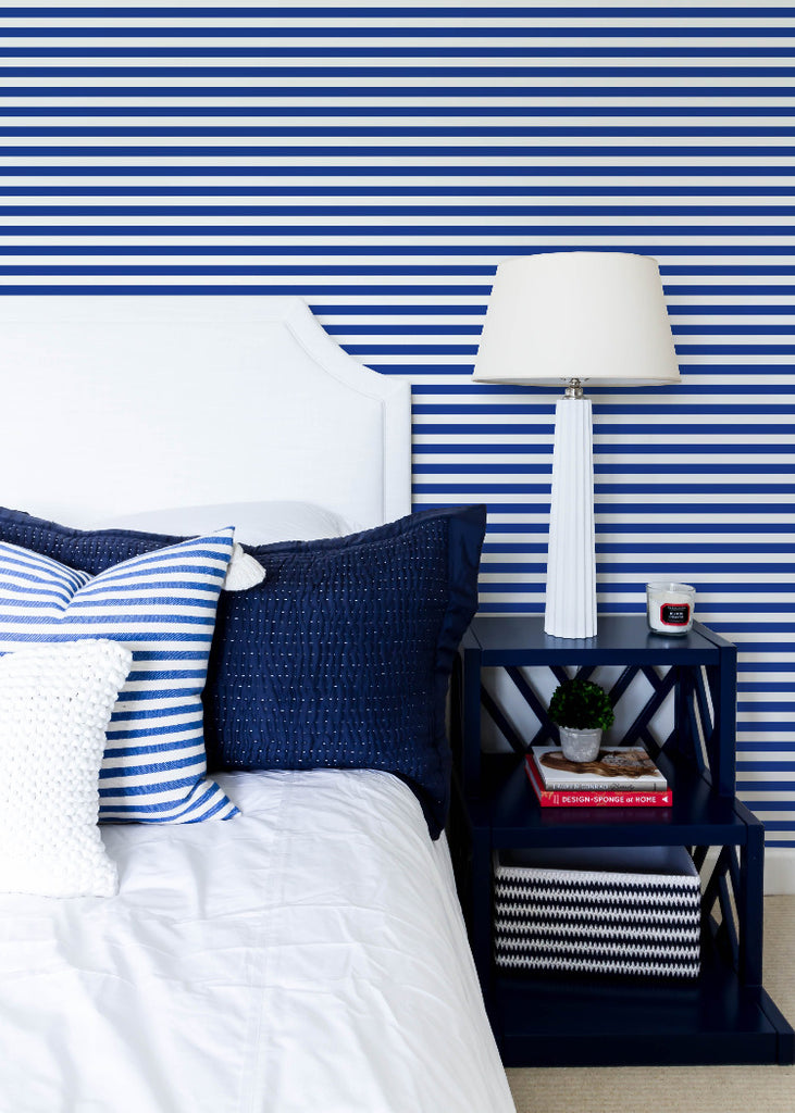 LUCKY Versa Stripe - Yves Blue Wallpaper - Mrs Paranjape Papers
