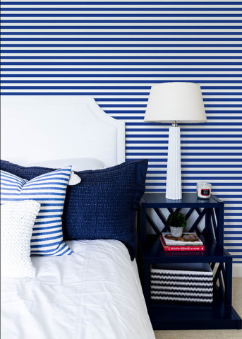 Versa Stripe - Yves Blue Wallpaper - Mrs Paranjape Papers