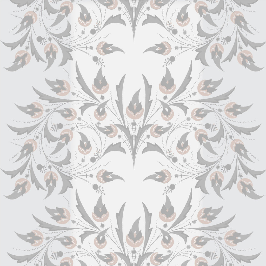 LUCKY Peacock Flowers - Silver Rose Peel & Stick Wallpaper - MB SIGNATURE