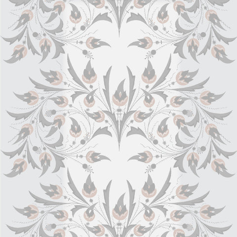 LUCKY Peacock Flowers - Silver Rose Wallpaper - MB SIGNATURE