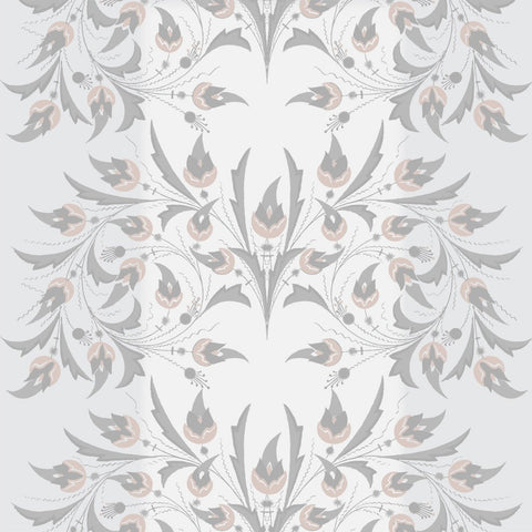 Peacock Flowers - Silver Rose Wallpaper - MB SIGNATURE