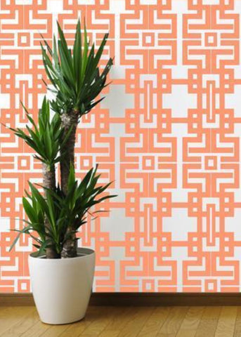 Aztec - Coral Wallpaper - The Blush Label