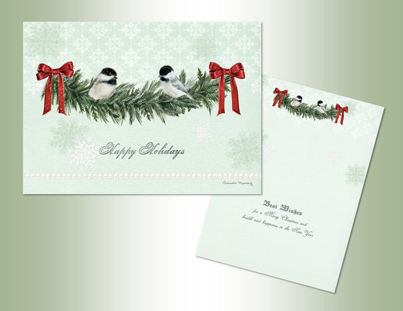 Happy Holidays Chickadees Deluxe Velvet Touch