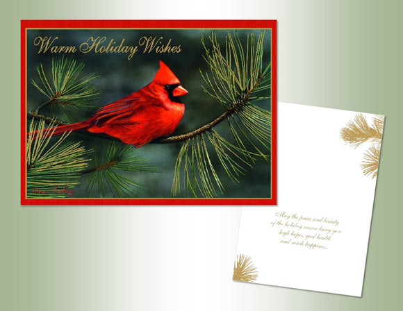 Warm Wishes Cardinals - Embossed Foil