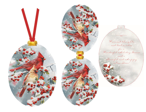 Winter Cardinals - Ornament Card
