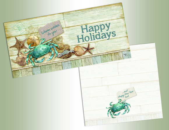 Happy Holidays Crab - Long Glitter