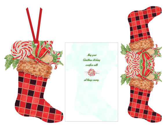 Plaid Stocking - Ornament Card