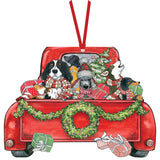 Red Truck Dog Party - Ornament Card