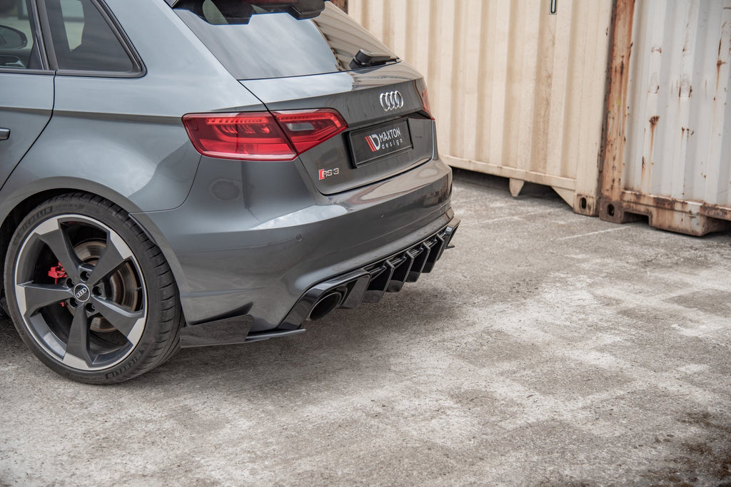 Maxton Design Robuster Racing Heck Ansatz Flaps Diffusor passend für + Flaps Audi RS3 8V Sportback