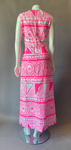 Amazing Mod DayGlo Pink Skort Maxi Dress