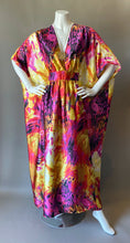 Load image into Gallery viewer, O'pell Pink Firecracker Satin Cocktail Long Torso Caftan
