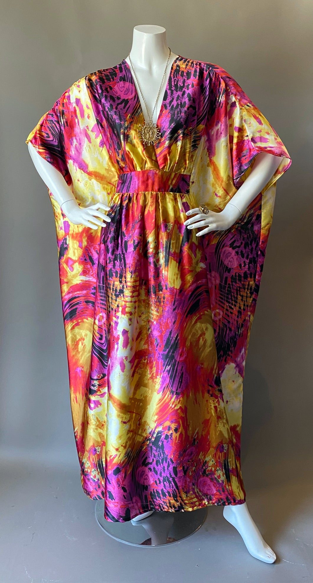 O'pell Pink Firecracker Satin Cocktail Long Torso Caftan