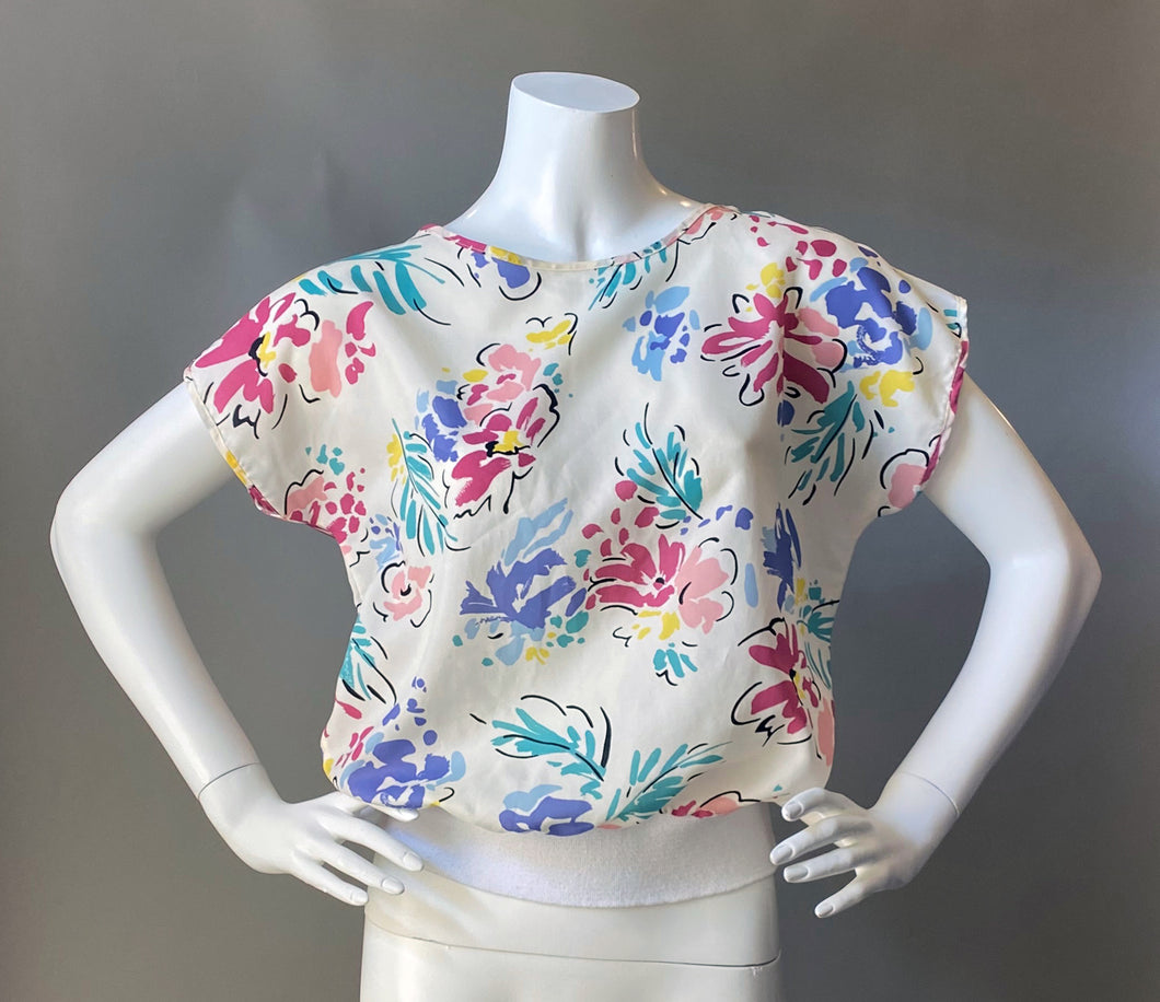 1980s Floral Sheer Blouse