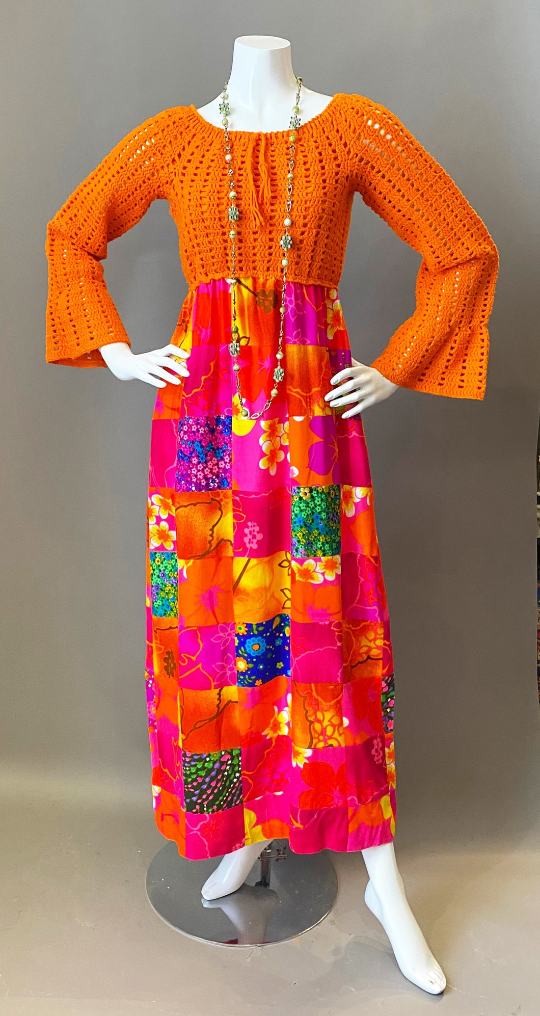 Mod Orange Patchwork Crochet Maxi Dress