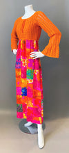 Load image into Gallery viewer, Mod Orange Patchwork Crochet Maxi Dress