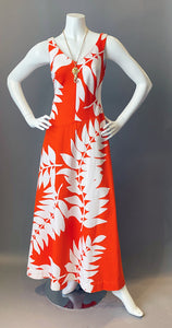Vintage Malia Orange and White Maxi Dress